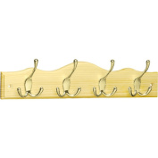 Brainerd 4 Tri-Hook Scalloped Top Rail, Lacquered Pine and Brass Plated, RPMS4EZ-PNB-B