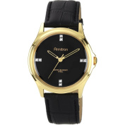 Armitron Men's Black Dial with Crystal Accents Watch, Black Leather Strap