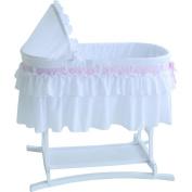 Lamont Home Goodnight Baby Bassinet with Half Skirt, White