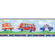 Brewster Home Fashions Fire Engines Blue Wallpaper Border