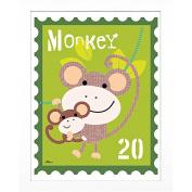 Timeless Frames Monkey Animal Stamp Framed Art, 10x8