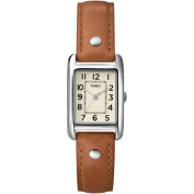 Timex Women's Rectangular Watch, Brown Leather Strap