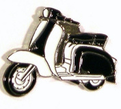 Metal Enamel Pin Badge Brooch Scooter Lambretta Black & White