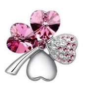High Quality with low price. Beautiful Pink Clover Brooch. Elements Crystal Four Leaf Clover Love Heart Silver Plated