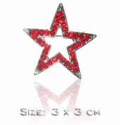 Star Outline Red Fashion Brooch Pin Badge Occasion Crystal Diamante Bling Wedding