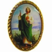 Gold colour metal St. Jude pin badge 2.5cm Catholic