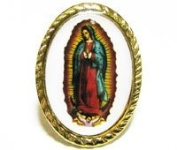 Gold colour metal Our Lady of Guadalupe pin badge 2.5cm Catholic