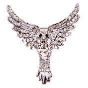 Yazilind Jewellery Christmas Gift Silver Plated Glaring Crystal Eagle Brooches and Pins for Women & Girls