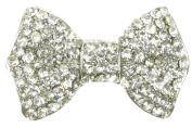 Maaria B's Accessories Silver Diamante Rhinestone Flower Bow Brooch Broach Pin Costume Jewellery