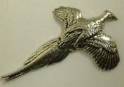 Rising Pheasant Pin Badge in Fine English Pewter, Handmade.