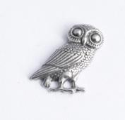Hoardersworld Greek Owl Pin Badge In Fine English Pewter, Handmade