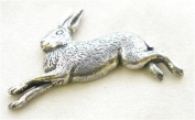 Running Hare Pin Badge in Fine English Pewter, Handmade.
