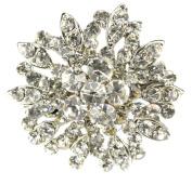 Maaria B's Accessories Silver Diamante Rhinestone Flower Brooch Shoe Cake Bridal Pin Jewellery
