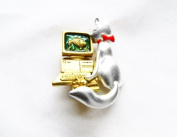 Danecraft Silver - Plated Cat and Computer Mouse Pin Brooch