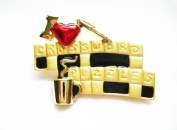 Danecraft Gold - Plated I Love Crossword Puzzles Pin Brooch