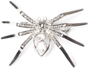 Jodie Rose Silver Colour Metal with Clear Crystal Spider Brooch