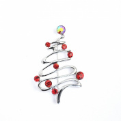 Contemporary Design Red Crystal Diamante/ Rhinestone Silver Finish Christmas/ Xmas Tree Brooch