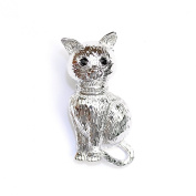 Silver Effect Sitting Cat Brooch with Black/jet Crystal Eyes.