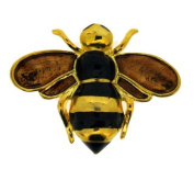 Polished Gold Colour Metal Bee Brooch With Enamel