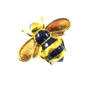 Brooches Store Small Black Enamel & Gold Bee Brooch