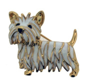 Polished Gold Colour Metal Yorkshire Terrier Brooch With White & Black Enamel