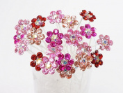 Colour Crystal Flower Hair Pins Ideal for Bridal Party, Bridesmaids, Proms, Pageants Hair Pins, Pack of 20