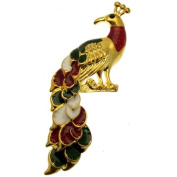 Acosta Brooches - Multi-Coloured Enamel - Gold Tone Peacock Brooch - Gift Boxed