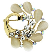 Brooches Store Gold Crystal and Frosted Peacock Brooch
