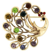Brooches Store Gold and Multi Coloured Crystal Peacock Brooch