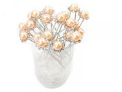 Peach Faux Pearl Crystal Flower Hair Pins Ideal for Bridal Party, Bridesmaids, Proms, Pageants Hair Pins, Pack of 20