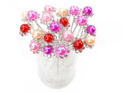 Mix Colour Faux Pearl Crystal Flower Hair Pins Ideal for Bridal Party, Bridesmaids, Proms, Pageants Hair Pins, Pack of 20