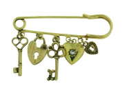 Polished Gold Colour Metal Charm Safety Pin Brooch With Clear Crystal