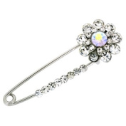 Brooches Store Silver & Crystal Flower Safety Pin Brooch