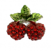 Acosta Brooches - Red Crystal Vintage Style Double Cherry Brooch (Silver Tone) - Christmas Gift with Box
