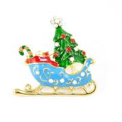 Multi-Coloured Enamel & Coloured Crystal Christmas Sleigh Brooch.