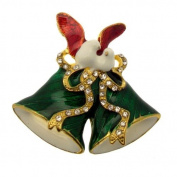 Acosta Brooches - Festive Green Enamel & Crystal - Christmas Bell with Dove Brooch (Gold Tone) - Gift Boxed
