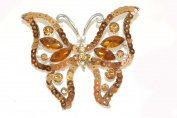 Silver Effect Large Butterfly Brooch with Jewels and Sequins.