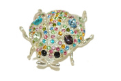 Silver Effect Ladybird Brooch with Multicoloured Jewels.