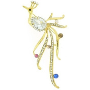 Brooches Store Shiny Gold & Crystal Peacock Bird Brooch
