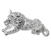 Acosta - Silver Coloured Crystal - Leo Lion Brooch