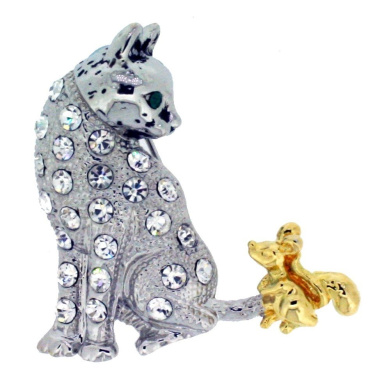 Jodie Rose Clear Crystal Cat & Mouse Brooch
