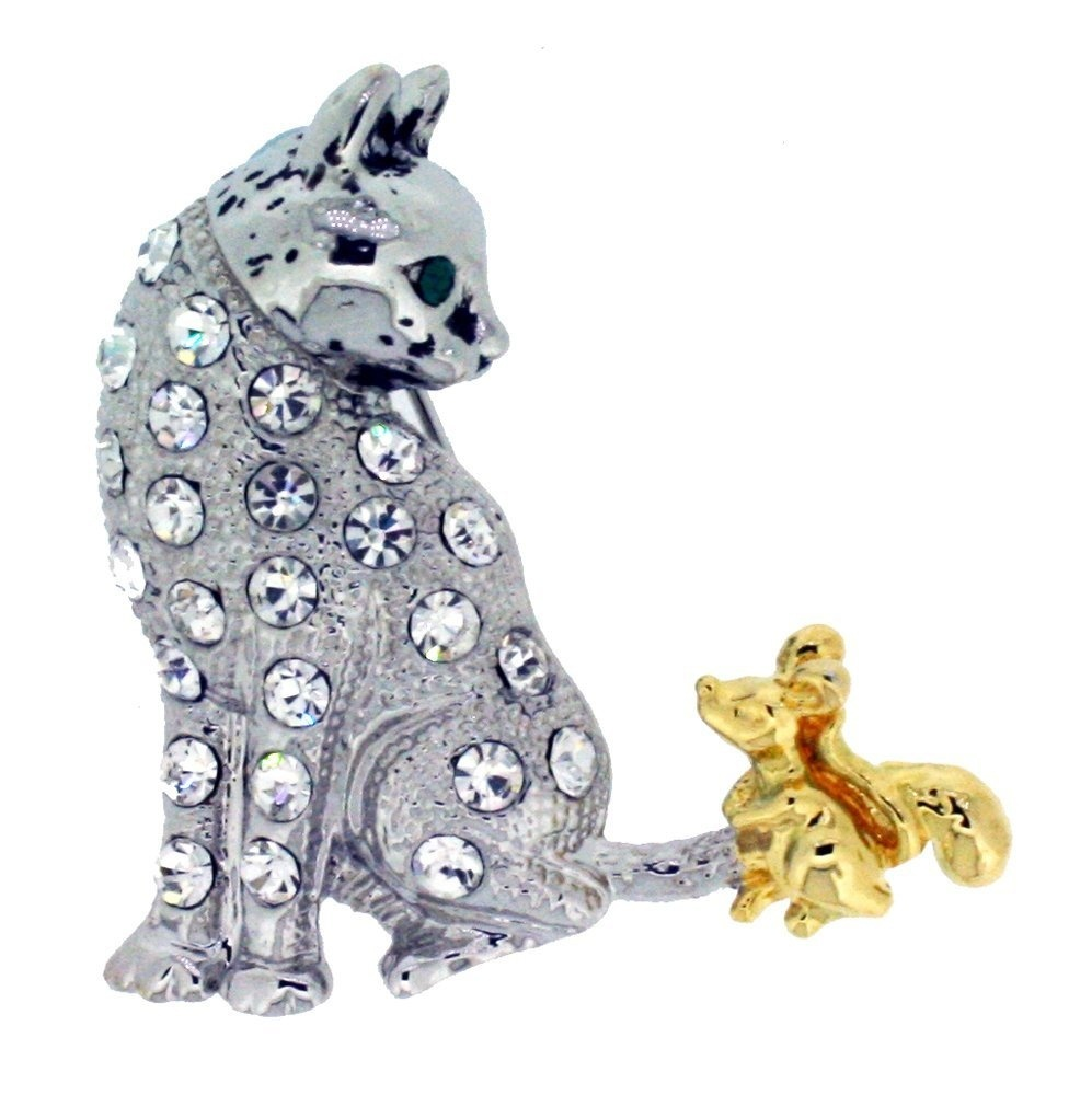 Jodie Rose Clear Crystal Cat and Mouse Brooch 8ouWyFYZ