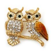 Two Crystal Sitting Owls Brooch