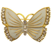 Acosta Brooches - White Enamel & Crystal Butterfly Brooch (Gold Tone) - Gift Boxed