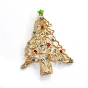 Gold Christmas Vintage Style Holiday Christmas Tree Crystal Brooch Pin Christmas jewellery gift deco