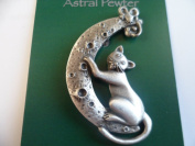 Cat and mouse sitting on moon pewter brooch