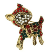 Brooches Store Red Green & Crystal Christmas Reindeer Brooch - Gold