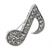 Acosta - Silver Coloured with Clear Crystal - Small Music Note Brooch - Gift Boxed