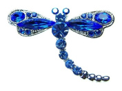 Blue Crystal Rhinestone Dragonfly Insect Bug Pin Brooch