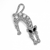 Clear Crystal/Diamante Leaping Cat Brooch with Black/Jet Crystal Eyes